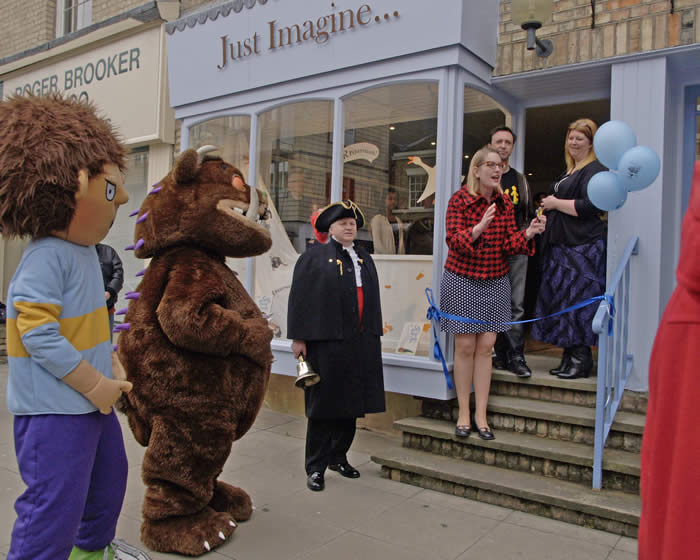 Horrid Henry The Gruffalo Chelmsford Town Crier Sarah MacIntyre Steve Cole and Nikki Gamble owner of Just Imagime Childrens' Bookshop in Chelmsford at the opening ceremony