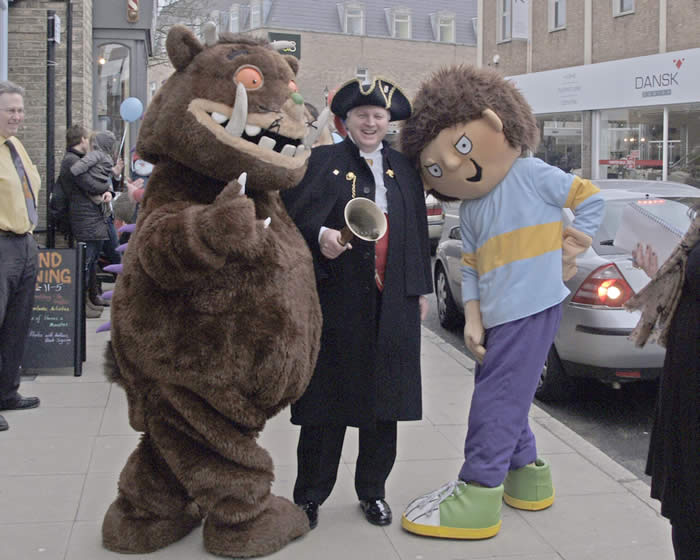 The Gruffalo Chelmsford Town Crier and Horrid Henry outside Just Imagine Children's Book Shop in New London Road Chelmsford