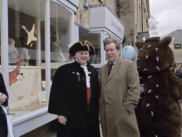 Chelmsford Town Crier with Chelmsford's Conservative member of parliament Simon Burns MP at the opening of the new children's book shop Just Imagine